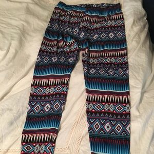 Pants - Blue and red striped leggings.